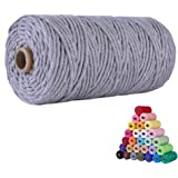 flipped 100% Natural Macrame Cotton Cord,3mm x109 Yards Twine String Cord Colored Cotton Rope Craft Cord for DIY Crafts Knitt