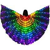 YOUDirect LED Belly Dance Wings Girls Colorful Butterfly Wings with Telescopic Stick