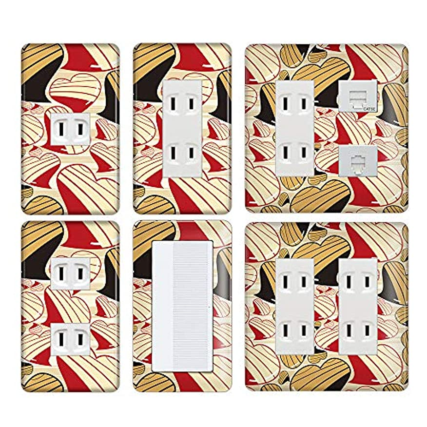 ホステルレタッチ十年コンセントカバー スイッチカバー ハート 柄 パナソニック コスモ HRTC09-1-CV-CN