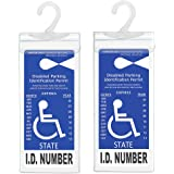 Handicap Parking Placard Holder, Ultra Transparent Disabled Parking Permit Placard Protective Holder Cover with Large Hanger