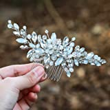 Yean Wedding Hair Comb Silver Rhinestones Blue Opal Crystal Vintage Bridal Hair Clips Combs for Brides and Bridesmaids (White