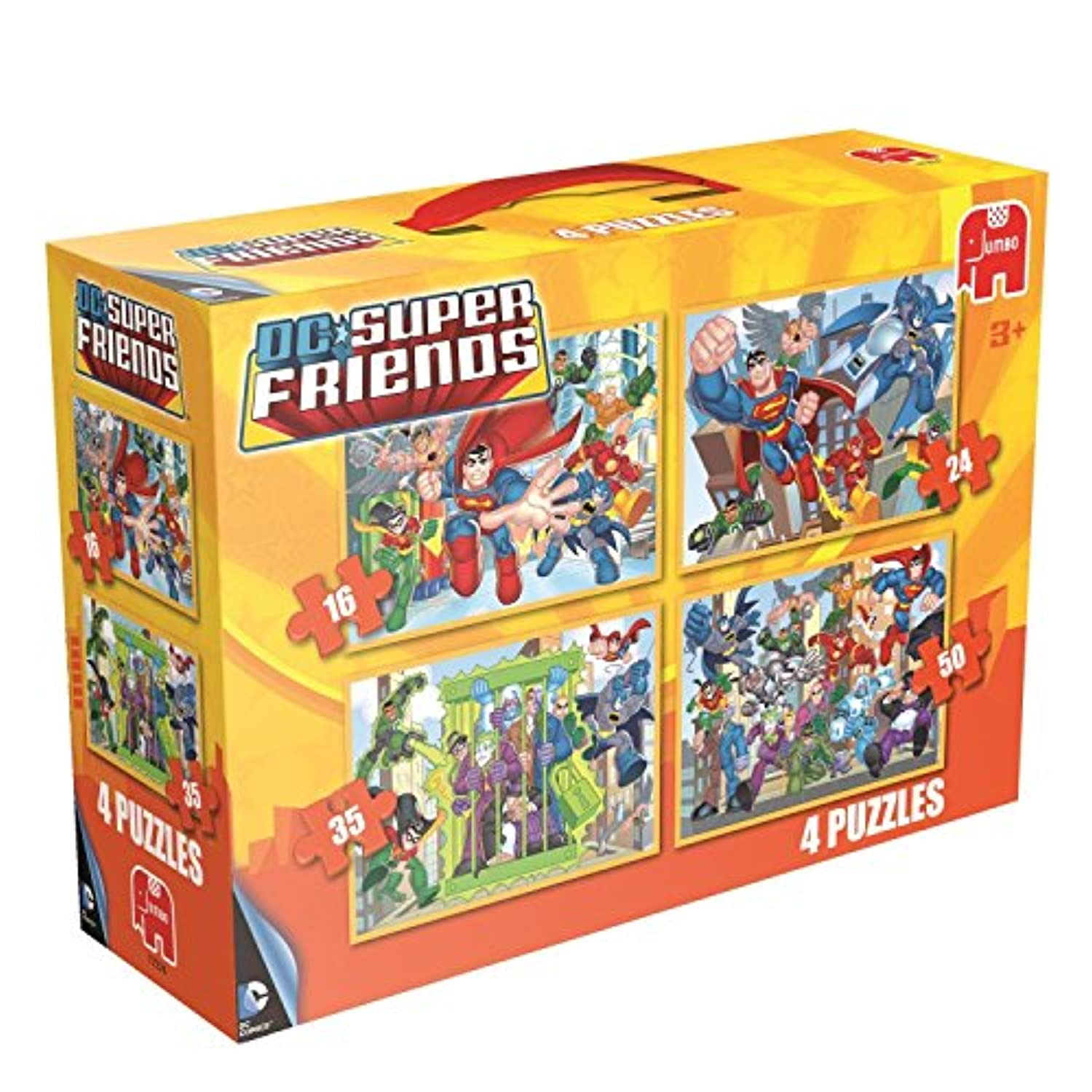 DC Comics Super Friends 4 in a Box Puzzles 16 24 35 and 50 Piece Ages 3+
