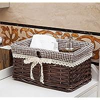 籐の籐の収納バスケットの庭の織りの収納バスケットのスナックデブリの収納バスケットの収納ボックスの織りのバスケット (色 : Dark coffee, サイズ さいず : 1#25 * 15 * 12)