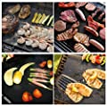 BBQ Grill Mat Set of 5, Gyvazla Non Stick Baking Mats with a Silicone Brush ,Reusable, Durable, Heat Resistant Barbecue Sheets For Grilling Meat, Veggies, Seafood - Works on Gas, Charcoal, Electric Grill, - 13 X 16 Inches, - FDA Certified