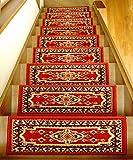 高級階段マット/ペルシャ絨毯由来の伝統柄/滑り止め付/レッド 15枚組