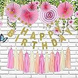 誕生日 飾り付け ガーランド スターガーランド 装飾 バースデー デコレーション セット ペーパーファン タッセル HAPPY BIRTHDAY おしゃれ かわいい 女の子 男の子 ピンク