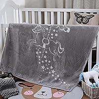 i-baby 子供たち 毛布 シングル あったか マイクロファイバー 軽い 暖かい柔らかい ふわふわ 洗える フランネル 毛布 (グレー, 110x140cm)