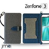 Zenfone3 ZE552KL ケース JMEIオリジナルカルネケース VESTA グレー ゼンフォン 3 zenfone simフリー ASUS スマホ カバー スマホケース 手帳型 ショルダー スリム スマートフォン