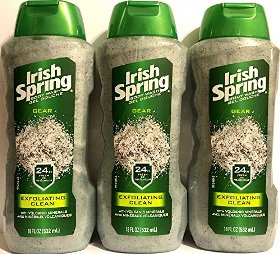 現金解説指標Irish Spring ギアボディウォッシュ - エクスフォリエイティングクリーン - 火山ミネラルを - ネット重量。ボトルパー18液量オンス(532 ml)を - 3本のボトルのパック