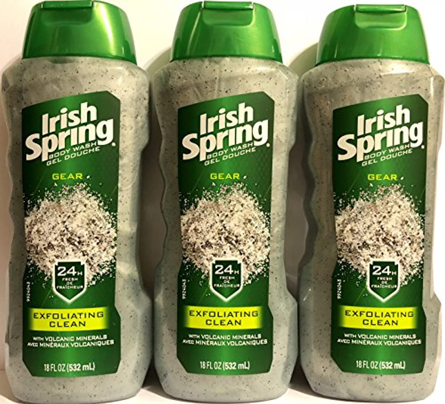 ロシア私のマウスIrish Spring ギアボディウォッシュ - エクスフォリエイティングクリーン - 火山ミネラルを - ネット重量。ボトルパー18液量オンス(532 ml)を - 3本のボトルのパック