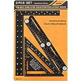 "3 in 1 Framing Square Tool Kit, Multi Angle Measuring Ruler + Rafter Square 7"" + L Framing Square 8""x12"", Heavy Duty Aluminum"