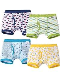 男児 下着 ボクサー ブリーフ パンツ キッズ 男の子 前開き 綿100% 子供パンツ 4枚組 動物柄 車柄 黄色い 緑 ブルー ネイビー 90 100 110 120 130