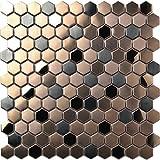 六角ステンレススチールBrushedモザイクタイルローズゴールドブラックバスルームシャワー床タイルtstmbt021 11 Square Feet TSTMBT021