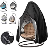 Oslimea Patio Hanging Egg Chair Cover, Durable Lightweight Waterproof Egg Swing Chair Cover with Zipper Fits Most Outdoor Sin
