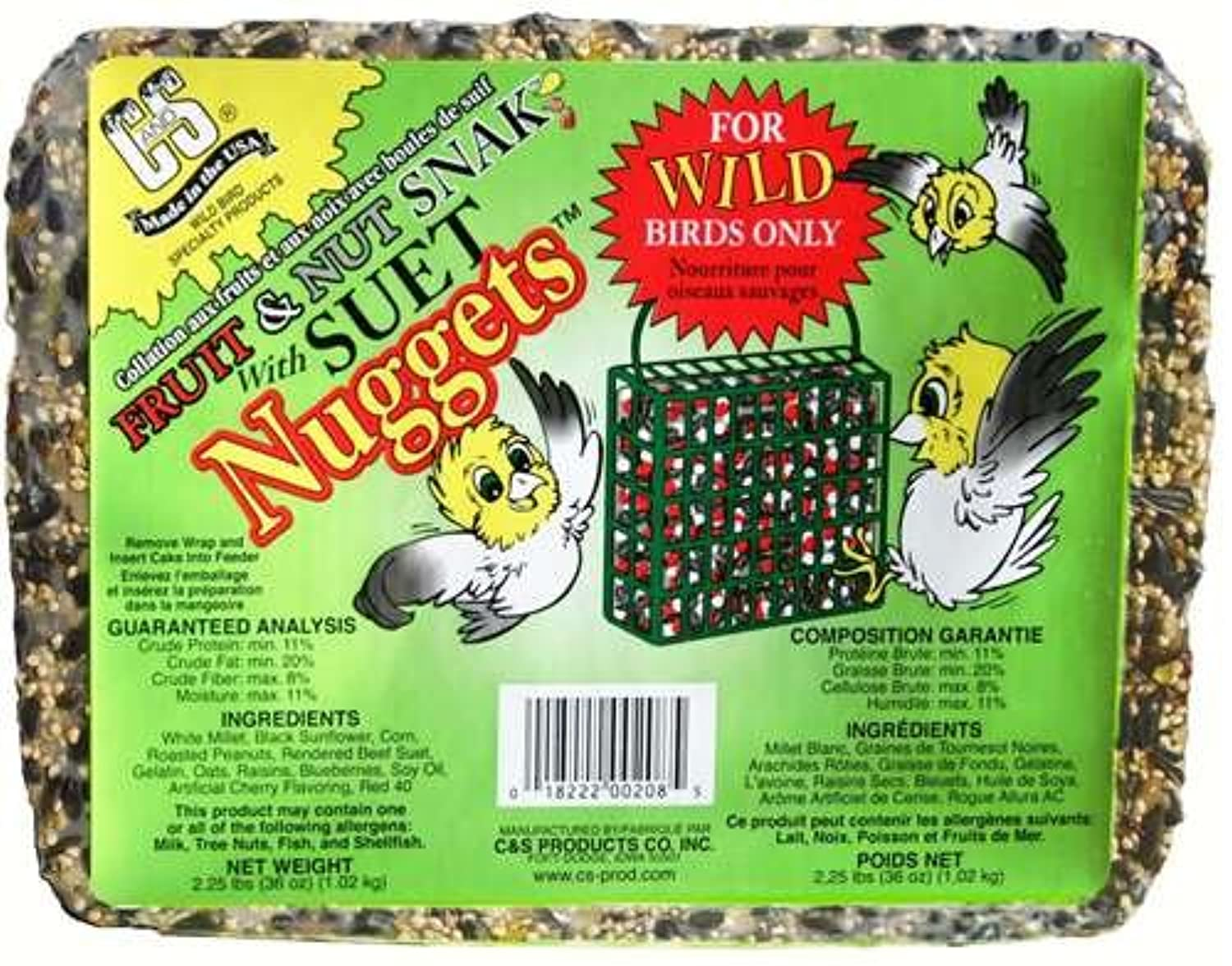 C & S 06208 Fruit & Nut Snak Bird Food Cake & # 44 ; with Suet Nuggets
