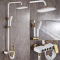 olqmy-bathroom preferredeuroスタイルホワイトゴールド正方形シャワーフル銅ブースター壁シャワーホットとコールドHeated 6185148543368