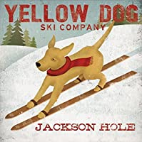 Yellow Dog Ski Company Jackson Hole Yellow Labradors by Ryan Fowler 12x12 Sking Signs Dogs Labrador Animals Art Print Poster Vintage Advertising 【Creative Arts】 [並行輸入品]