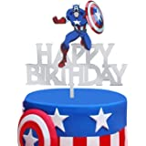 LILIPARTY Acrylic Happy Birthday Captain America Cake Topper for Avengers Superhero Theme Birthday Party Decoration Suppliers