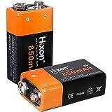 9v 電池 充電式 電池 角型 充電池 2本 Hixon リチウムイオン充電池 850mAh 006p 大容量 保護回路 カメラ/ギター/モーター駆動/時計/ラジオ/電圧計/火災報知器/おもちゃ電池