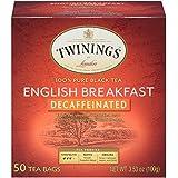 Twinings of London Decaffeinated English Breakfast Herbal Tea Bags, 50 Count, Pack of 6