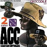 アウトドア サファリ ハット 2way リバーシブル/ メンズ レディース 帽子 つば広 コットン アドベンチャーハット ACC(エーシーシー) 紫外線対策 釣り 登山 スケート スノーボード HAT-CROCODILE