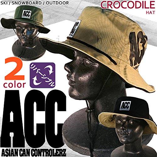 アウトドア サファリ ハット 2way リバーシブル/ メンズ レディース 帽子 つば広 コットン アドベンチャーハット ACC(エーシーシー) 紫外線対策 釣り 登山 スケート スノーボード HAT-CROCODILE ベージュ/ブラック L