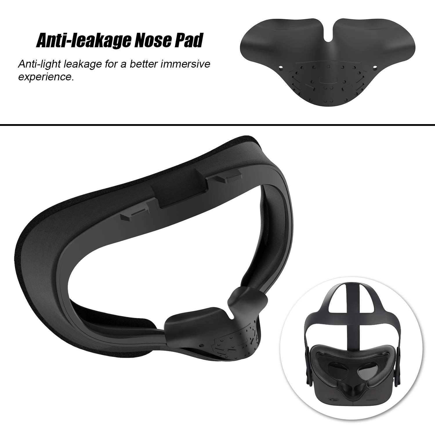 KT-CASE Silicone Cover Mask /& Face Pad for Oculus Quest Face Cushion 2 pairs Oculus Quest Film Lens Protector ,Oculus Quest Accessory Set Black