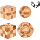 4 Pack Wooden Puzzle Games Brain Teasers Toy- 3D Puzzles for Teens and Adults - Wooden Logic Puzzle Wood Snake Cube Magic Cub