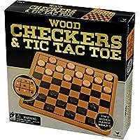 Recreation - Jeu de Dames et Tic Tac Toe en Bois - Jeu Traditionnel (Import Royaume Uni)