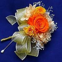 688【コサージュ】【結婚式、入学式、卒業式】プリザーブド・バラ マンダリンオレンジ1輪とミニローズ2輪