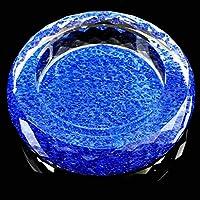 SHYPwM 灰皿ブルー布柄ラウンド明るい色スタイルクリスタルガラスの灰皿パーソナリティのファッションリビングルームの装飾(サイズ:20 * 20 * 4.5センチメートル)、サイズ:25 * 25 * 4.5センチメートル 家庭用灰皿 (Size : 20*20*4.5cm)
