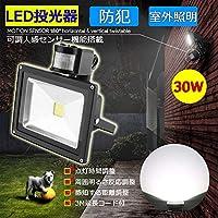 LED投光器 30W 300W相当 センサーライト 人感 3M配線付 屋外 防犯ライト 駐車場 倉庫 防水加工 広角 防水 昼光色(6500K) ALS-AC30W-FSB-W