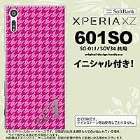 601SO スマホケース Xperia XZ ケース エクスペリア XZ イニシャル 千鳥柄 ピンク nk-601so-901ini C