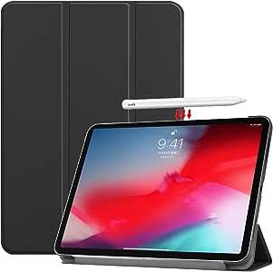 Vikisda iPad Pro 11 2018用 ケース カバー 高級感PUレザー 超軽量 薄型 傷つけ防止 耐衝撃 三つ折 スタンド機能 2018年モデル iPad Pro 2018 11インチ ケース ブラック