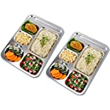 HYBAUDP Five Compartment Rectangular Plate, Thali, Mess Tray, Stainless Steel Dinner Plate Set of 2 Pcs- Non -Toxic & Easy to
