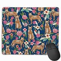 オーストラリアの牛犬赤ヒーラー花柄犬のデザイン花柄マウスパッド 25 x 30 cm