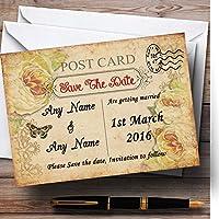 Old vintage shabby chicはがきPersonalized結婚を保存日付カード 40 Invitations