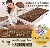 山善(YAMAZEN) 空気をキレイにする 洗える あったか 電気敷きパッド (200×100cm) ミックスフランネル素材 頭寒足熱配線 室温センサー付 ベージュ YWP-201F(C)