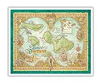 マウイ発見 - マウイ島、ラナイ、モロカイ島のハワイ諸島の地図 - ビンテージなハワイアンカラーの地図製作のマップ によって作成された デイヴ・スティーヴンソン - アートポスター - 41cm x 51cm