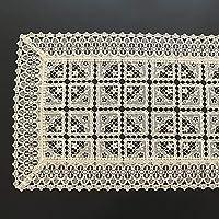 QL レース テーブルランナー 白いレーステーブルランナー上品な花柄テーブルランナー結婚式祭イベントテーブルデコレーションヴィンテージ長方形パターン、3色 (Color : Beige, Size : 45*180cm)
