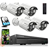 8ch POE NVR Security Camera Systems Outdoor Wired,OOSSXX IP Video Security Camera System POE,Wired 4 Channel 5MP POE Security