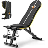 Weight Bench Adjustable, Figolo Workout Bench with Thicken Premium Steel Widen Seat for Home Gym Strength Training Press Benc