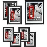 [Amazonブランド] Umi.(ウミ) 写真たて フォトフレーム A4 A5 2L サイズ マット付 セット 壁掛け ポスター イラスト アーティスト 7枚 ブラック