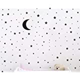 (Black) - JOYRESIDE Moon and Stars Wall Decal Vinyl Sticker For Kids Boy Girls Baby Room Decoration Good Night Nursery Wall D