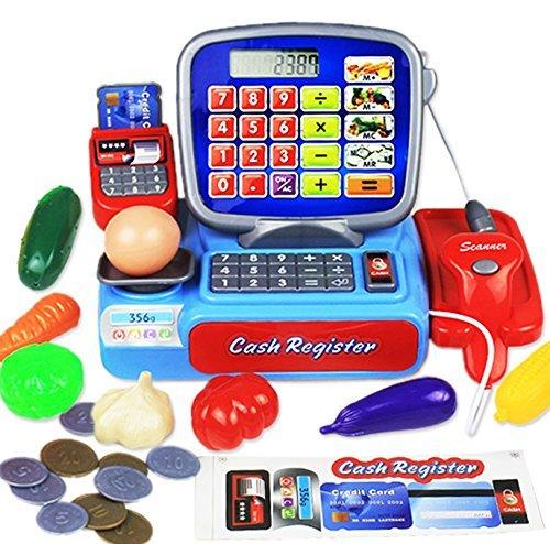 Pumpumly シミュレーションの子供のままごと遊びのおもちゃ 3―8歳の赤ちゃんのスーパーマーケットの小さい キャッシュレジスター 児童買い物のゲーム 電卓付き