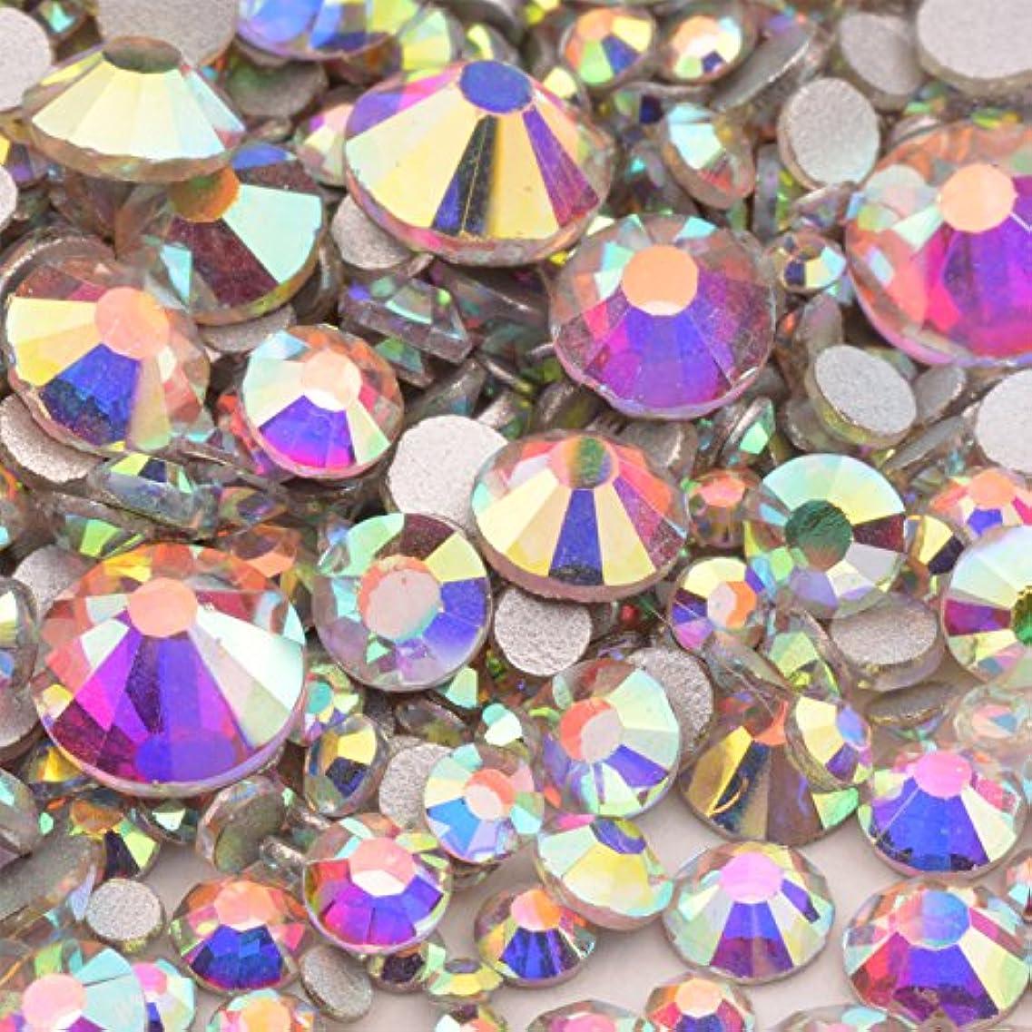 メンタル加害者報告書AQUA CRYSTAL 高品質ガラスストーン mixサイズ SS20 SS16 SS12 SS10 SS8 SS6 SS4 SS3 (入数1000粒以上) (オーロラmix)