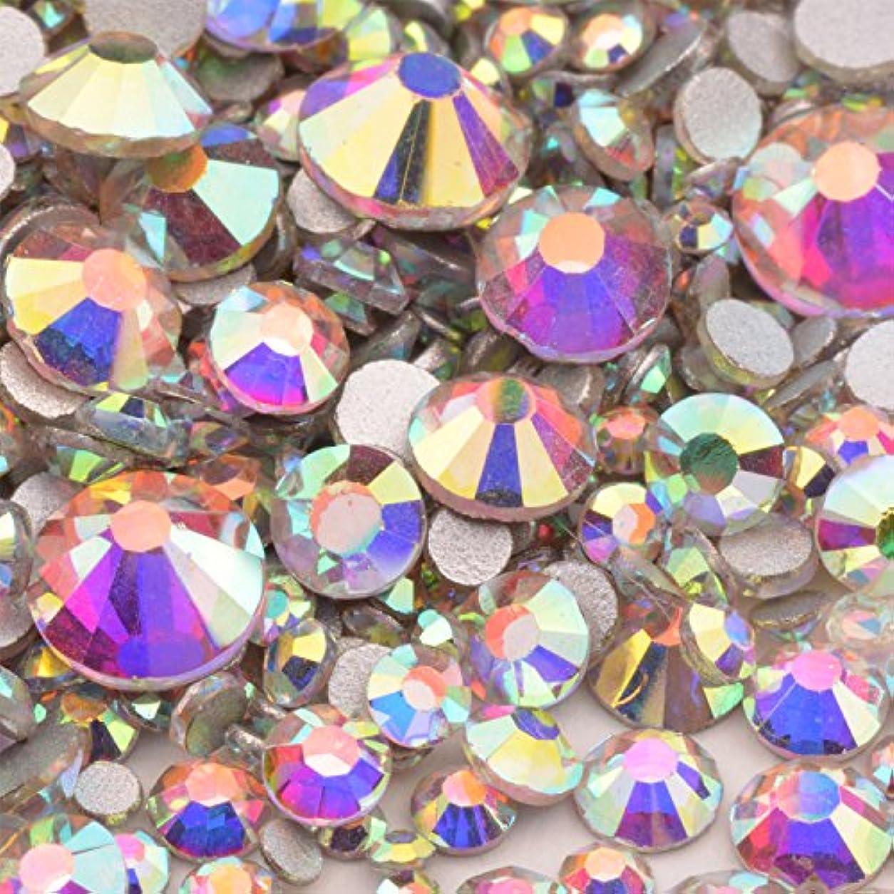 滞在公然とその他高品質ガラスストーン mixサイズ SS20 SS16 SS12 SS10 SS8 SS6 SS4 SS3 (入数1000粒以上) (オーロラmix)