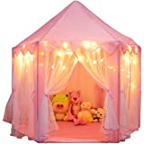 Orian Princess Castle Tent Playhouse with Bonus LED Star Lights - Indoor and Outdoor Large Hexagon Children Play Tent for Ima