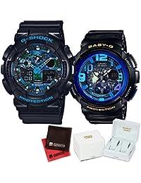【セット】ペアウォッチ [カシオ]CASIO 腕時計 GA-100CB-1AJF メンズ・BGA-190GL-1BJFレディース ・専用ペア箱(Gショック& ベビーG)・マイクロファイバークロス 2枚セット V-81776