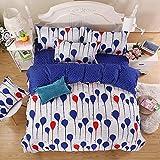 HYSENM 寝具カバー 布団カバー ベッドシーツ 枕カバー*2 4点セット 除湿 肌に優しい 通気性 抗菌 爽やかさ 子供ベッド用 大人にも シングル/ダブル 1.5m セット4